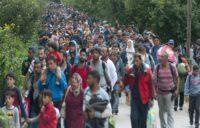 Refugiados caminando hacia Austria